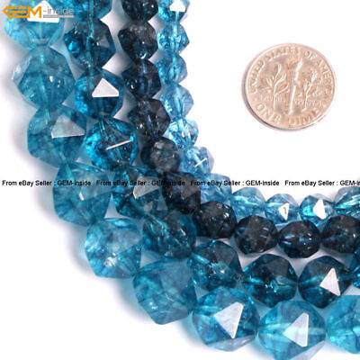 Faceted Gemstone Blue Kyanite Crystal Loose Beads For Cambay Strand 15'' Dyed