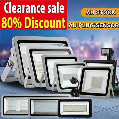 10W- 1000W LED Flood Light AU Plug Motion Sensor Outdoor Floodlights Wall Lamp
