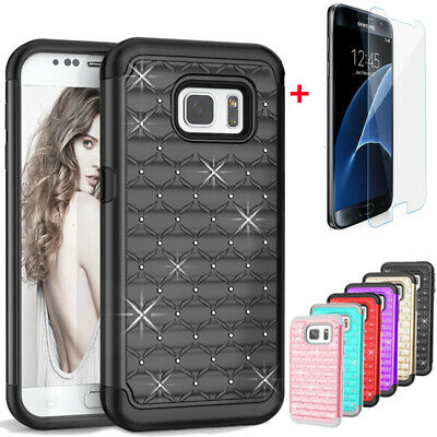 For Samsung Galaxy S7 Case, Hybrid Liquid Glitter Bling Cover + Screen Protector
