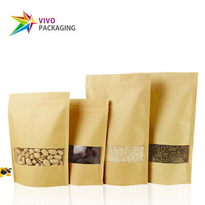 Kraft Paper Stand Up Doy Pouch, Zip Lock Food Grade Bags, with Window (100 pcs)