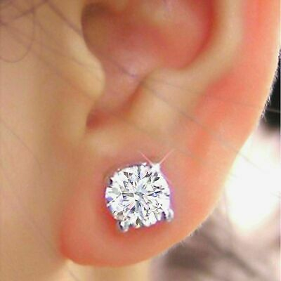 2.20 Ct VVS1 Solitaire Diamond Earring 14K Solid White Gold Round Cut Studs