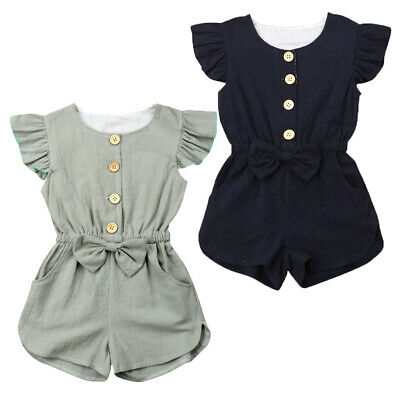Summer Toddler Baby Girls Short Sleeve Romper Bodysuit Jumpsuit Outfits Clothes