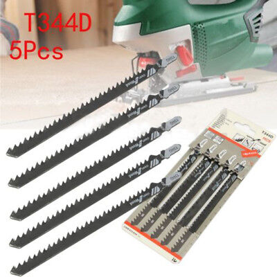 5Pcs 6 TPI T344D HCS 125mm Jigsaw Blade Clean For Wood T-Shank Jig Saw Blades