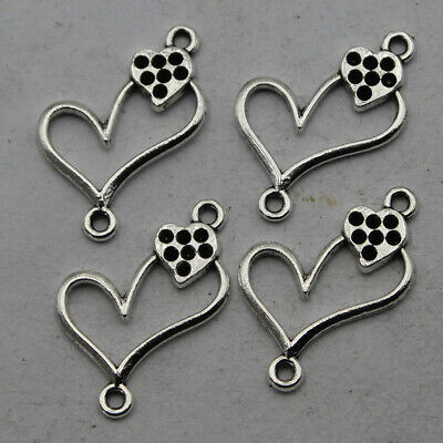 40/200pcs Retro style lovely heart DIY alloy connector charms Pendants 15x18mm
