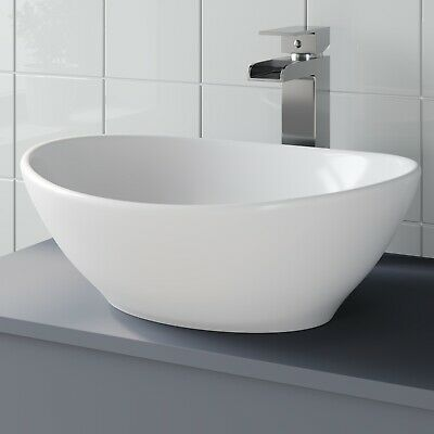 Bathroom Vanity Wash Basin Sink Countertop Oval Curved White Modern 410 x 330mm