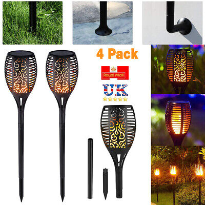 2X 96 LED Flame Solar Torch Light Waterproof Flickering Dancing Path Garden Lamp