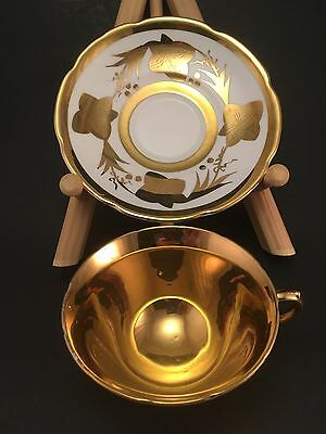 Gold COLLINGWOOD Footed Tea Cup & Saucer Gold Luster 1345 Staffordshire