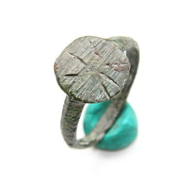 Ancient Medieval Ornament Bronze Finger Ring (JAN44)