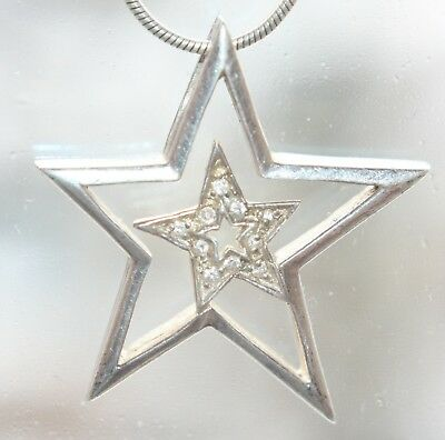 Sterling Silver Rhinestones Pendant STAR On Silver Chain 7.9 gram