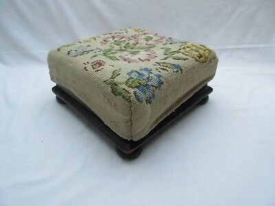 Vintage old upholstered very low wooden footstool foot stool project