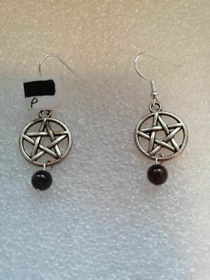 E466 Tibet Silver Pentacle & Amethyst Bead On Sterling Silver Wires Earrings New