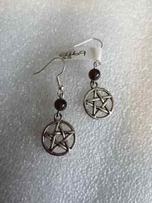E469 Tibet Silver Pentacle & Amethyst Bead On Sterling Silver Wires Earrings New