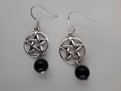 E470 Tibet Silver Pentacle & Black Onyx Bead Sterling Silver Wires Earrings New