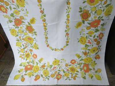 Vintage Print Tablecloth Fall Flowers Orange Gold Green Luther Travis Signature