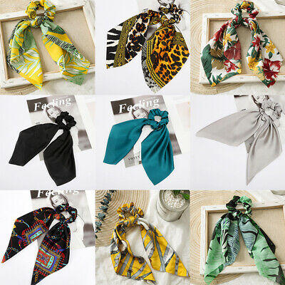 Luxury Floral Bow Scrunchie Elastic Hair Band Hair Tie Rope Scarf Accessories
