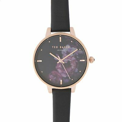 Ted Baker Dark Floral Watch Ladies Pattern Analogue Buckle Fastening Leather