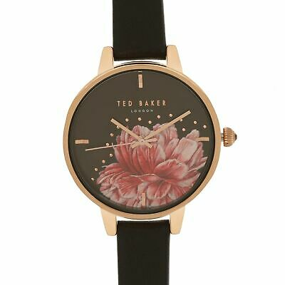 Ted Baker Floral Gem Watch Ladies Water Resistant Leather Strap Round Face