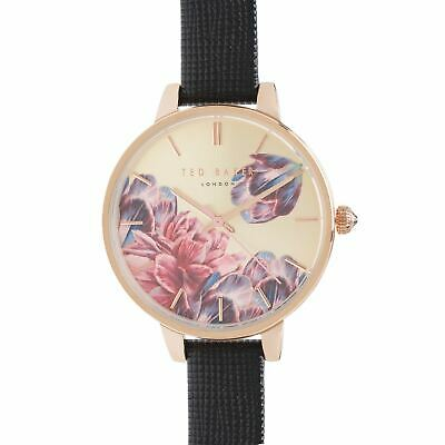 Ted Baker Leather Strap Watch Ladies Stamp Floral Analogue Buckle Fastening