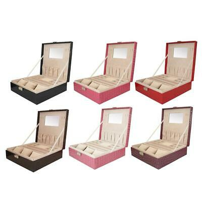 Two Layer Jewelry Box Leather Mirror Display Compartments Storage Case With Lock