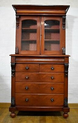 Stunning antique large Victorian mahogany Scotch chest of drawers with bookcase