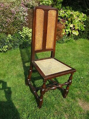 17th Century Walnut High Back Side Chair With Double Caned Panel Back and Seat
