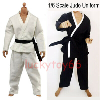 """1/6 Scale Judo Gi Uniform Kung Fu Suit White/Black  For 12"""" Male Figure Hot Toys"""