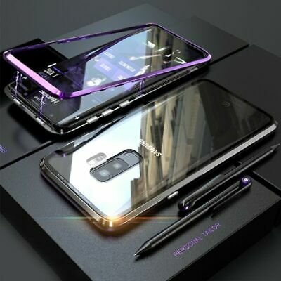 For Samsung Galaxy S10/S10+ Plus Magnetic Adsorption Metal Tempered Glass Case