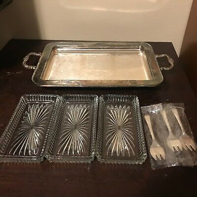 VTG Silver Plate Footed Serving Tray - Three glass inserts- forks by LEONARD~USA