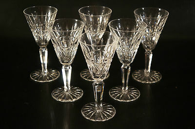 "Set of 6 WATERFORD ""Glenmore"" Claret Wine Cut Crystal in the Pattern"