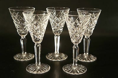 """Set of 5 WATERFORD Shot Glasses """"Alana"""" Claret Wine Cut Crystal in the Pattern."""