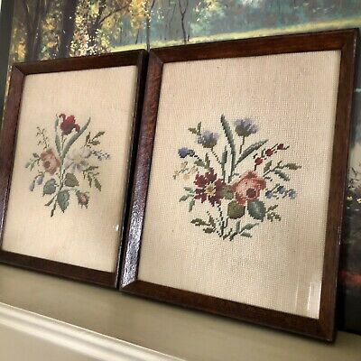 Pair Of Vintage Framed Needlepoint Wildflower Bouquets Old English Country Farm