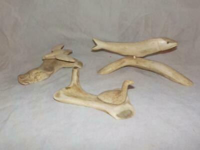 3 Unique Inuit Caribou Antler Carvings By Philip Raymond, Tuktoyaktuk Nwt Signed