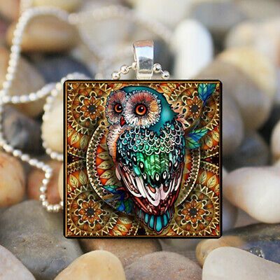 Owl animal Cabochon Glass Silver Tile Chain Pendant Necklace Jewelry