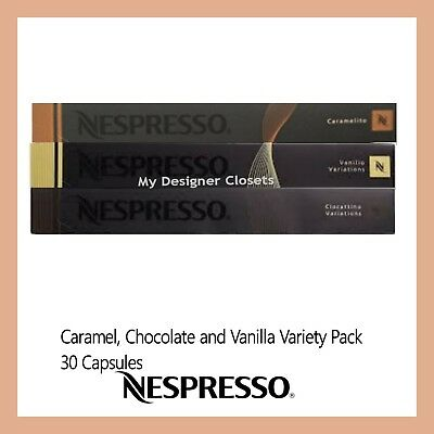 New 30 Capsules Nespresso Coffee Pods Caramel Vanilla Chocolate Variety Pack MDC