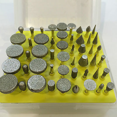 """50pc Diamond Burr Rotary Tool Set 1/8"""" Shank Different Sizes And Shapes -Hobby"""