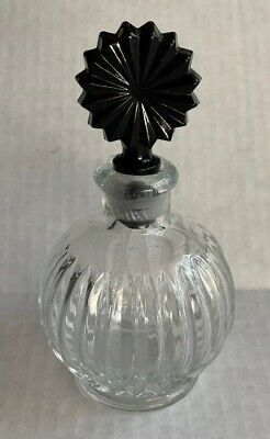 Clear Round Perfume Bottle Decanter, Black Glass Ground Stopper, Vintage