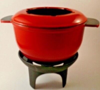 Vintage French Cast Iron Fire Red Orange Fondue Set Made In France