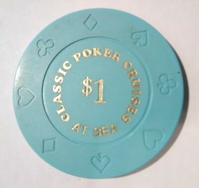 Classic Poker Cruises At Sea Casino Vintage Vault Blue $1.00 Gaming Chip!