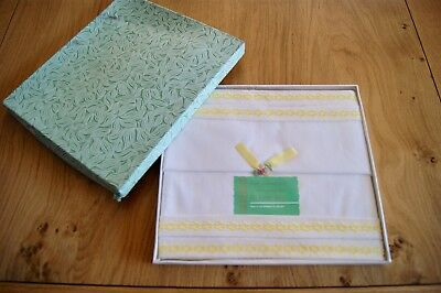 PAIR of UNUSED VINTAGE WHITE COTTON IRISH EMBROIDERY PILLOWCASES