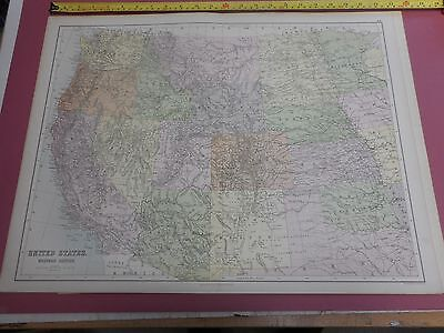 100% Original Large United States  Western  Map By Black C1880/S Vgc Low Postage