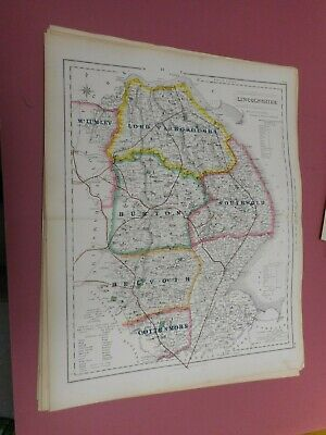 100% Original Lincolnshire Fox Hunting Map By Hobson C1860/S Vgc Coloured
