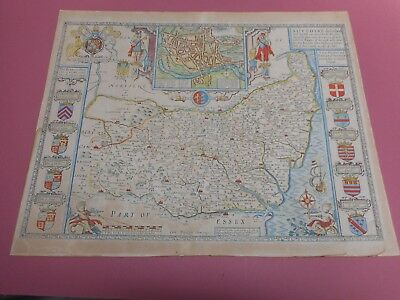 100% Original Large Suffolk Map By John Speed C1676  Hand Coloured