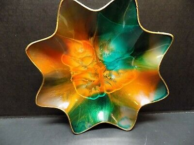 Vintage Seetusee Mayfair Canadian Art-Glass Bowl/Dish, Hand Painted, Pigskin Bac