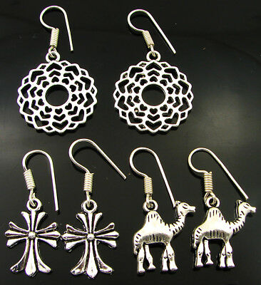 925 Silver Plated Oxidised Antique Ethnic Dangle Earrings Lot of 3 New - 2216