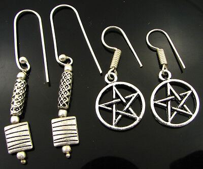 925 Silver Plated Oxidised Antique Ethnic Dangle Earrings Lot of 2 New - 2213