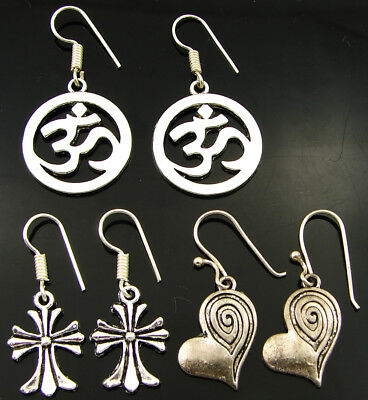 925 Silver Plated Oxidised Antique Ethnic Dangle Earrings Lot of 3 New - 2224
