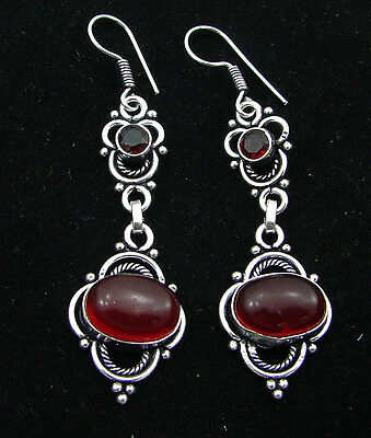 925 Silver Plated Red Onyx Gemstone Antique Ethnic Indian Dangle Earrings 1290