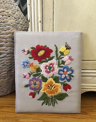 Vintage Floral Embroidery Needlework Wall Hanging Unframed Colorful 8 X 10