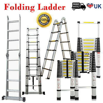 3.8M-5M Portable Heavy Duty Multi-Purpose Aluminium Telescopic Ladder Extendable