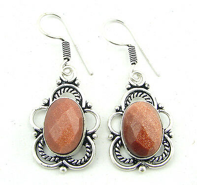 925 Silver Plated Brown Sunstone Antique Ethnic Indian Dangle Earrings 1261